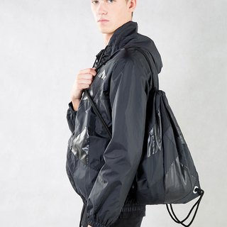Black Patchwork Drawstring Waterproof Backpack