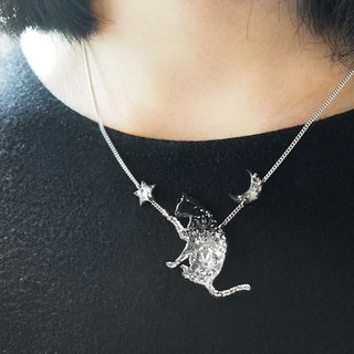 Cat cat kitten 925 sterling silver vinyl record handmade necklace custom star moon