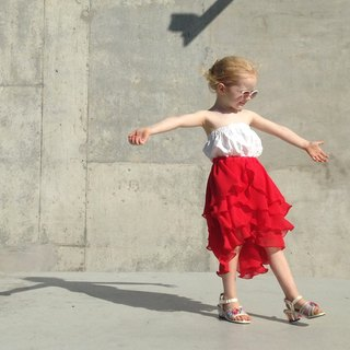 Girls Summer Party Skirt in Ferrari Red 1 - 4 Years