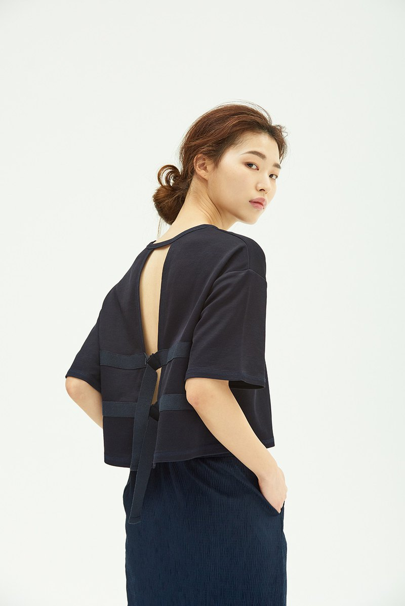 Glossy Open Back Top/ Navy