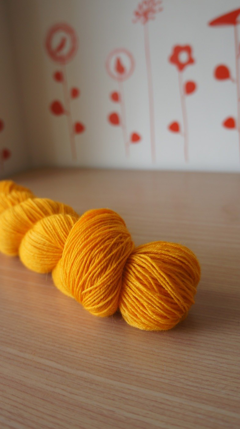 Hand dyed the line. pumpkin