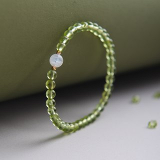 Peridot, Moonstone 14K Gold Filled Natural Gemstone Crystal Bracelet