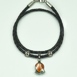 Tulip bracelet night maple glimmers Italian leather
