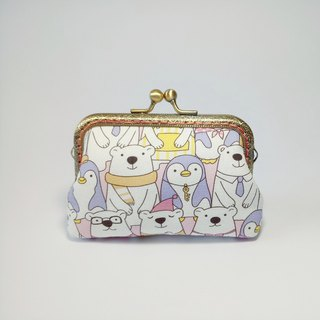 [Polar bear family] mouth gold purse clutch bag