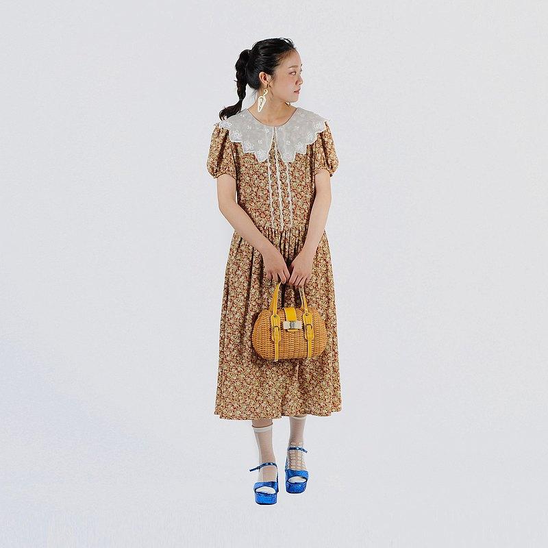 【蛋植物古着】星花野餐大翻領印花古著洋裝