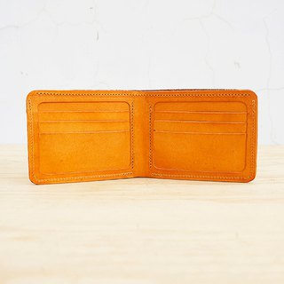 New leather の card slot short clip (card position x10 banknote layered x2 custom lettering)