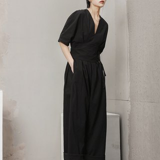 V Neckline High Waist Jumpsuit