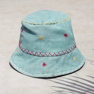 Limited edition handmade embroidery stitching handmade cotton hat / fisherman hat / sun hat / patch cap / handmade cap - blue sky star hand embroidery fisherman hat