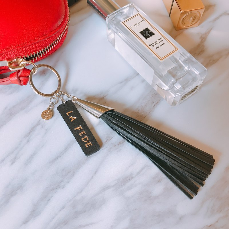 [La Fede] Customized Keyring with Leather Tassel Charm