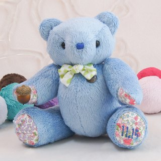 Handmade teddy bear pudding bear marine velvet 25cm custom color and embroidered word finished