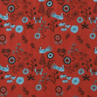 Life in the Golden Age × Ancient Xiao Yin Illustrated Fabric - wild garden (red)