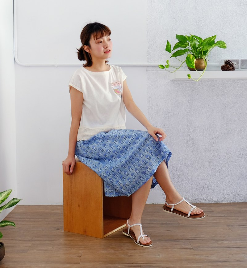 Handmade woodcut printed skirt - indigo, flower, breathable