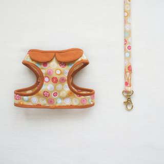 Can be customized. Orange pink fruit composition walking small circle 1 <Harnesses + leash>