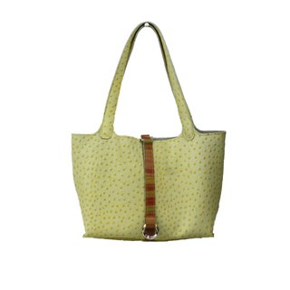 AMINAH - Yellow Ostrich Embossed Leather Tote [Art.202]