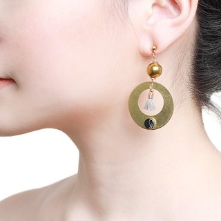 Statement Cloris Earring - Handmade in worn gold