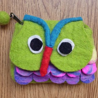 【Grooving the beats】Zippered coin purse pouch purse wool fabric(Owl_Dark Blue)