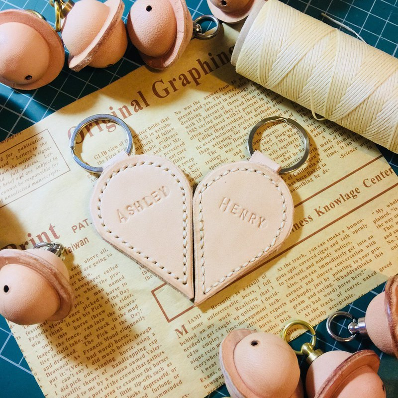 (Spot) couple key ring custom key ring Valentine's Day gift pair sniffing leather hand made
