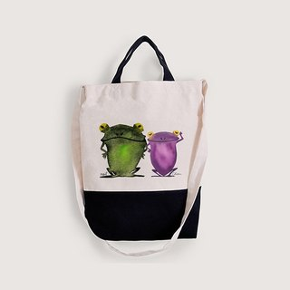 CHIEN X NEIL Freehand frog | canvas black dual-use bags