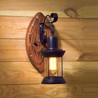 LOFT industrial wind small oil lamp wood wall lamp