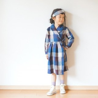 Cotton wool check Gown Coat 110,120size