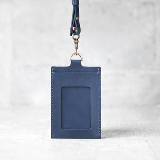 Navy blue veg-tanned leather ID card case