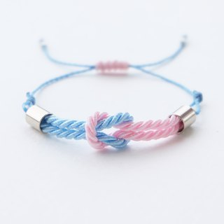 Tiny tie the knot rope bracelet in light blue / light pink