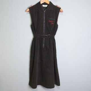 FOAK Vintage Vintage Embroidered Corduroy Dress