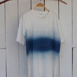 Comfortable hand-dyed blue dye isvara pure cotton T-shirt Series lake