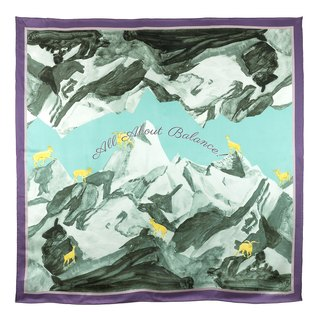 Shuang Cheng Ji All About Balance Snow Mountain Ram Print Silk Satin Large Towel Purple