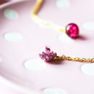 * Rosy Garden * Candy sweet pink tiny glass ball necklace