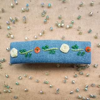 R ee denim rose embroidery hair clip HA005
