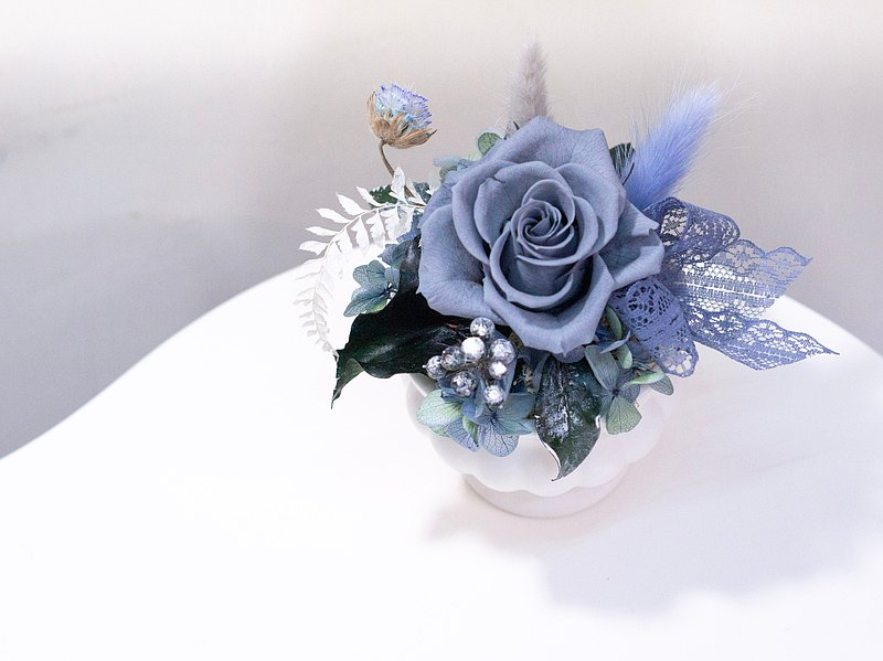 European style gray blue small table flower with gift box table flower anniversary rose birthday gift wedding gift