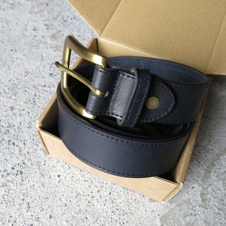 Black handmade 3.5cm genuine leather belt for men ( with decor sewing thread)