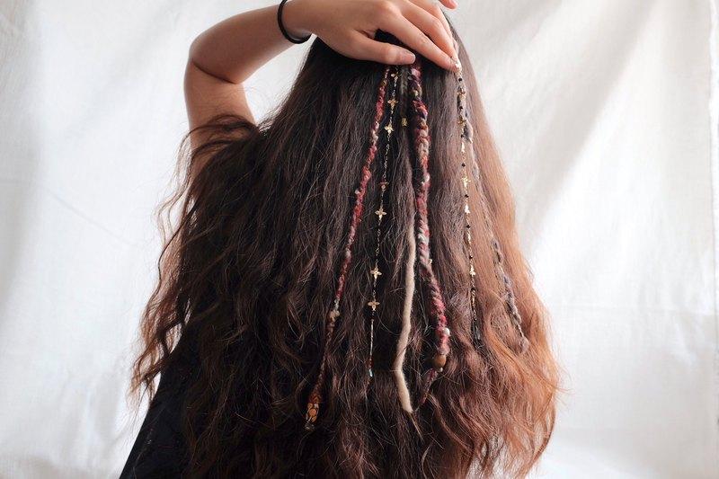 Gypsy hair 吉普賽 頭飾 派對髮飾 羊毛流鬚 髮夾 髒辮