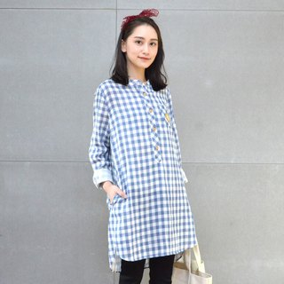 Embroidered Plaid Dress (Blue)