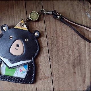 Cute Taiwan black bear pure leather telescopic identification card / You card clip (birthday, lover gifts)