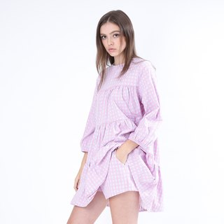 ZIZTAR small floral dress plaid pink skirt shorts suit