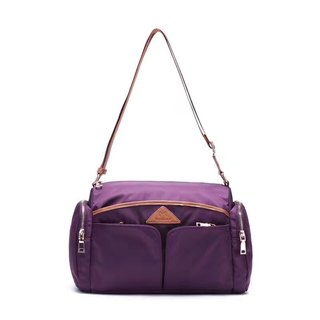 [Limited time free] ladies shoulder bag large capacity nylon waterproof travel oblique bag - purple