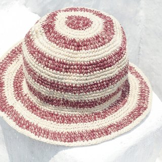 Tanabata gift limited a woven cotton / cotton hat / hat / fisherman hat / sun hat / straw hat - simple color mixing striped handmade hat
