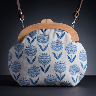 [Blue Tulip] vintage wooden mouth gold bag - wealth # # diagonal bag # portable bag elegant
