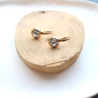 White snow-Brass earrings