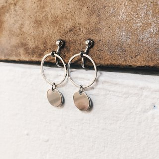 Draped double round - silver drop ear clip earrings (pair)