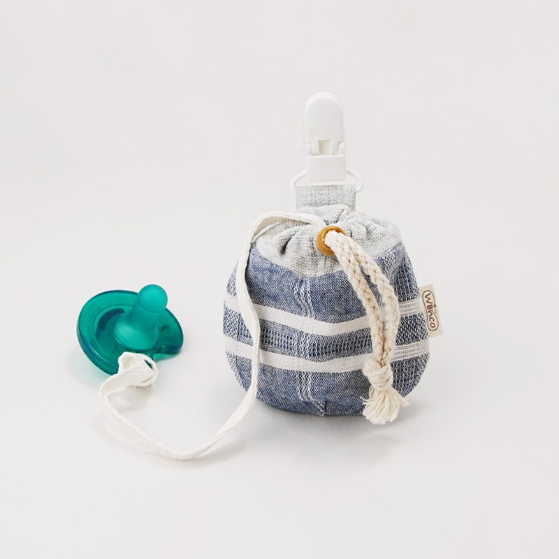 Yarn-dyed plaid blue baby pacifier bundle