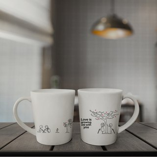 GROWING LOVE Couple Coffee Mugs (FREE HAND CREAM)