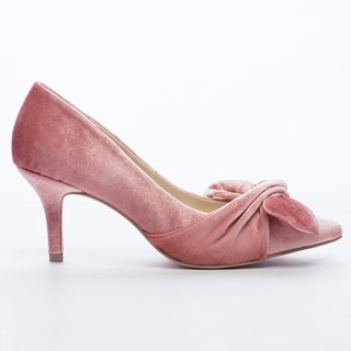 Saint Landry] [romantic velvet big bow evening shoes - quartz powder