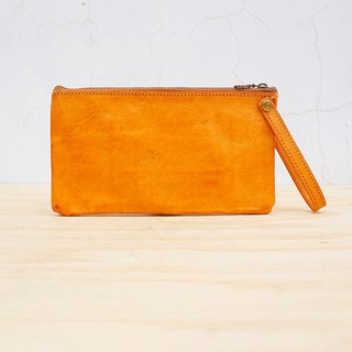 New leather の clutch (customized lettering)