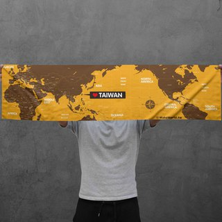 Make World map making sports towel (caramel)