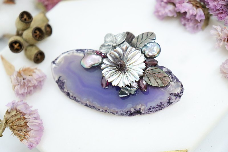 Purple Agate Stone & Shell Pearls Unique Handmade Brooch