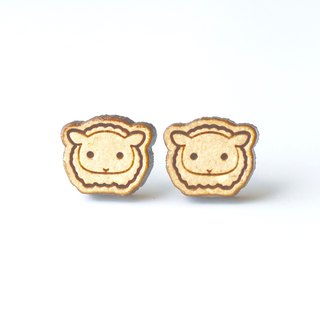 Plain wood earrings-Sheep