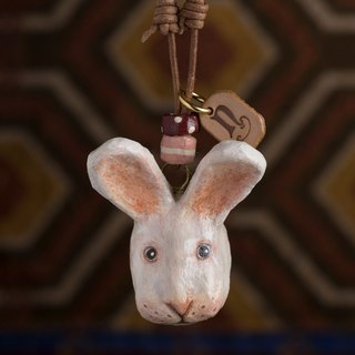 rabbit paper mache necklace